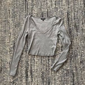 Topshop long sleeve crop top with open v-neck
